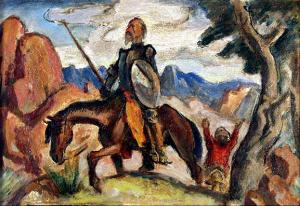"Boardman Robinson, ""Don Quixote"", oil, 1931 mural study for Gilpin mural colorado springs colorado painting for sale art gallery buy purchase"