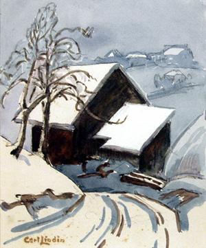 """Carl Eric Olaf Lindin, """"Road in Woodstock"""", watercolor, c. 1920"""
