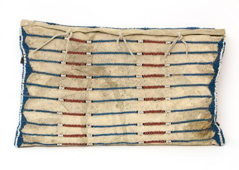 possible bagClassic Period Pony-Beaded Possible Bag on Buffalo, circa 1860