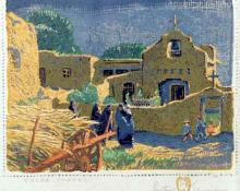 "Gustave Baumann, ""Talpa Chapel, 121/125"", woodcut, c. 1920 painting for sale"