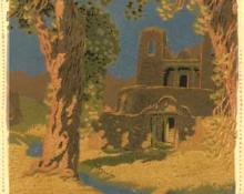 "Gustave Baumann, ""Sanctuario-Chimayo, 119/125"", woodcut, c. 1920 painting for sale"