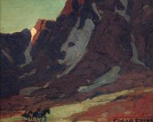 "Edgar Alwin Payne, ""Clouded Slopes With Riders"", oil, c. 1935"