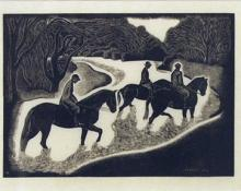 "Barbara Latham, ""Fording the Stream, edition of 20"", woodcut, 1936"