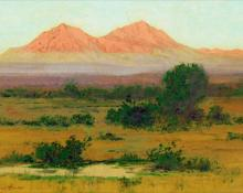 "Charles Partridge Adams, ""The Spanish Peaks Colorado, Sunrise Light, from the Valley of Cucharas Creek"", watercolor, c. 1910 painting for sale"