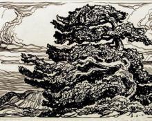 "sandzén, Sven Birger Sandzen, ""Trees at the Timberline, edition of 100"", lithograph, 1923"
