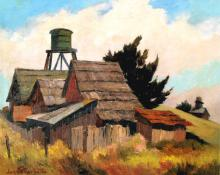 "Jon Blanchette, ""Water Towers of Mendocino (Northern California)"", oil, circa  1955 painting fine art for sale purchase buy sell auction consign denver colorado art gallery museum"
