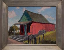 "Jon Blanchette, ""Joss House, Mendocino (California)"", oil painting fine art for sale purchase buy sell auction consign denver colorado art gallery museum"