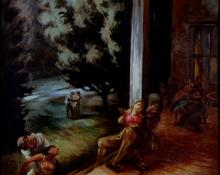 "Peppino Gino Mangravite, ""Porch party, Colorado Springs"", oil on canvas, c. 1938-39"