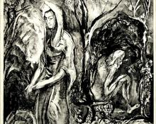 """Peppino Gino Mangravite, """"The Hermit's Prayer and the Widow's Tears, 12/30"""", lithograph, c. 1930"""