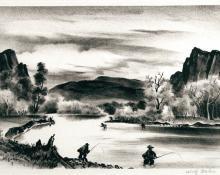 """Adolf Arthur Dehn, """"Fishing In Colorado"""", lithograph, c. 1940"""