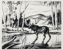 "Alfred James Wands, ""Moose, 26/100"", lithograph, c. 1940"