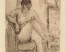 """Edgar Britton, """"Untitled (Seated Nude)"""", etching, c. 1940 painting for sale"""