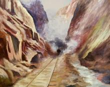 """Leo Janson, """"Untitled (Train in the Canyon)"""", watercolor on paper, c. 1900"""