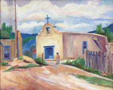 "Laura Hoernig, ""Church in Taos"", oil on canvas, c. 1960"