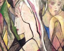 """Zulma DeLacey Steele, """"Group of Women"""", oil, c. 1920"""