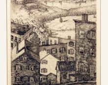 """William H. MacReady, """"Looking across the Hudson from Rondout, Kingston, New York"""", etching, c. 1935"""