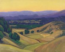 "Carl Eric Olaf Lindin, ""Untitled (Valley, California)"", oil, c. 1923-4"