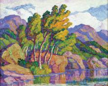 "Sven Birger Sandzen, ""Canyon Aspens: Big Thompson Canyon, Estes Park, Colorado"", oil, 1938"