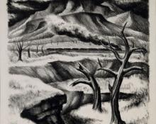 "Kenneth Warnock Evett, ""Untitled (Colorado Landscape)"", lithograph, 1937"