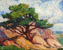 "Sven Birger Sandzen, ""Old Tree, Manitou, Summer, 1920 (Colorado)"", oil, 1920"