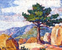 """Sven Birger Sandzen, """"The Old Pine, Manitou, Summer, 1920"""", oil, 1920"""