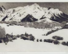 "Gene (Alice Geneva) Kloss, ""High in the Rockies, Artist's Proof, edition of 75"", etching, c. 1968"