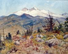 "Charles Partridge Adams, ""Untitled (Longs Peak and Mt. Meeker, Colorado)"", watercolor on paper, 1896 painting for sale"