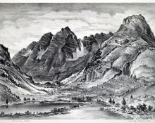 "Adolf Arthur Dehn, ""Maroon Lake, Edition of 50"", lithograph, 1945"