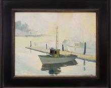 "Jon Blanchette, ""Santa Cruz Harbor (California)"", oil, circa 1950, painting, for sale purchase consign auction denver Colorado art gallery museum"