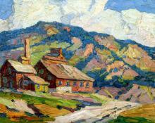 "Sandzén,  Sven Birger Sandzen, ""Untitled (Mountain Landscape With Abandoned Mines)"", oil on canvas, c. 1920 painting for sale"