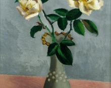 """Ernest Fiene, """"White Roses"""", oil, c. 1933"""