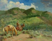 "Raphael Lillywhite, ""Return of the Stray"", oil, c. 1945"