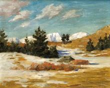 """Dean Babcock, """"Winter, Estes Park"""", oil, 1911 painting for sale"""