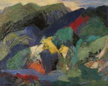 "Ethel Magafan, ""Mountain and Stream"", tempera, c. 1950"