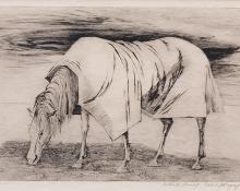"Ethel Magafan, ""Lone Horse, Artists Proof"", etching, c. 1947"