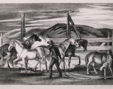 "Ethel Magafan, ""Horse Corral"", lithograph, c. 1946"
