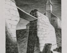 "Jenne Magafan, ""Adobe Ruins"", lithograph, c. 1938"