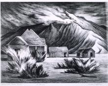 "Jenne Magafan, ""Deserted Farm House, edition of 11"", lithograph, c. 1942"