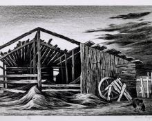 "Jenne Magafan, ""Old Shed, 7/12"", lithograph, c. 1942"