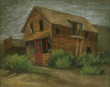 "Jenne Magafan, ""House in Leadville"", pastel on paper, 1939"