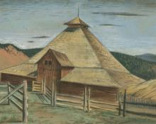 "Jenne Magafan, ""Barn in Carbondale"", pastel on paper, 1940"