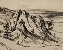 "Jenne Magafan, ""Rocks in Colorado"", ink on paper, c. 1940"