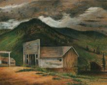 "Jenne Magafan, ""Cabin at Rosemont"", pastel on paper, 1939"