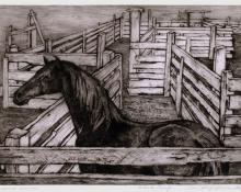 "Ethel Magafan, ""Corralled Horse, Artists Proof"", etching, c. 1947"