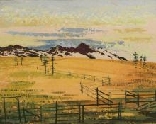 "Jenne Magafan, ""Mountain Corral"", gouache on paper, c. 1940"