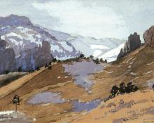 "Dean Babcock, ""Untitled (Mountains in Winter)"", watercolor on paper, 1912 painting for sale"