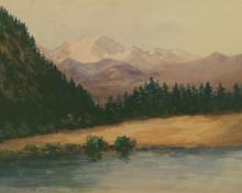 "Maude Leach, ""Untitled (River in the Rocky Mountains)"", watercolor on paper, c. 1910"