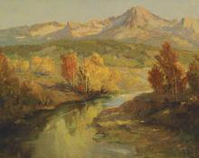 """Raphael Lillywhite, """"Out on the Little Laramie (Colorado)"""", oil, c. 1940"""