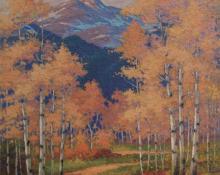 "Robert Ottokar Lindneux, ""Autumn, Estes Park, Colorado"", oil on canvas, 1927"