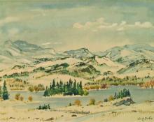 "Adolf Arthur Dehn, ""Untitled (Mountain Lake in Winter)"", mixed media, 1952"